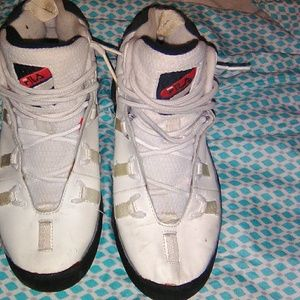 High top blue and white fila
